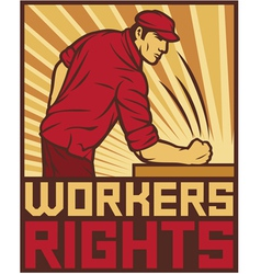 Workers rights poster - fist hit of the table vector