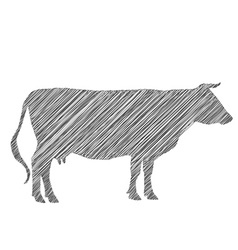 Cow silhouette shading doodle drawing by hand vector