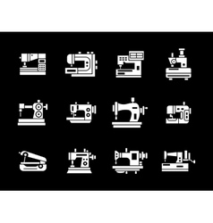 White glyph style sewing machine icons set vector