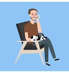 Man sitting together with his cat in vintage chair vector