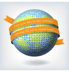 abstract globe symbol with ribbon vector image vector image