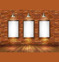 Brick show room with spotlights vector image vector image