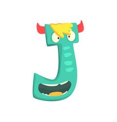cartoon character monster letter j vector image
