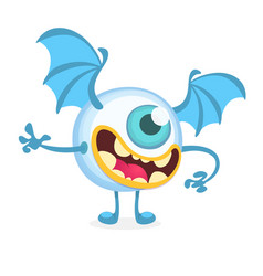 cartoon flying monster cyclop vector image vector image