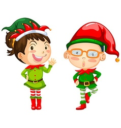Christmas theme with two elves vector image vector image