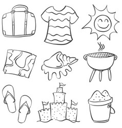 Collection stock summer object doodles vector