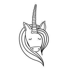Figure beautiful head unicorn with long mane vector
