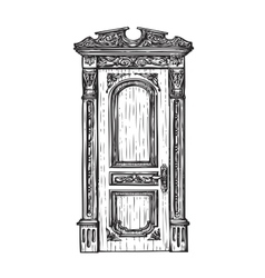 Freehand drawing door sketch vector