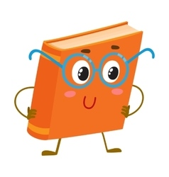 Funny orange book character in round blue nerdish vector