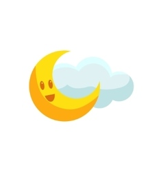 Happy Crescent And Cloud vector image vector image