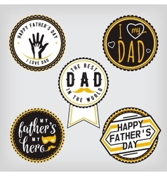 Happy Fathers Day Design gold Collection Stickers vector image