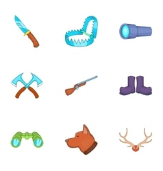 Hike icons set cartoon style vector