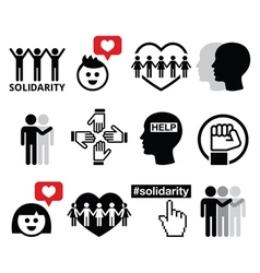 Human Solidarity icons people helping each other vector image vector image