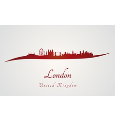 London skyline in red and gray background vector image vector image