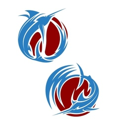 Marlin fish mascots vector