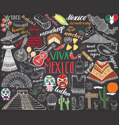 mexico hand drawn sketch set chalkboard vector image vector image