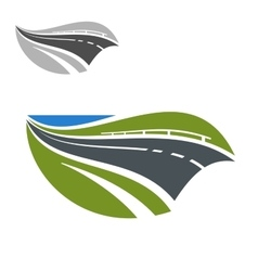 Modern highway or road abstract icon vector