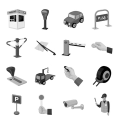 Parking zone set icons in monochrome style big vector