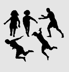 People running and jumping sihouette vector