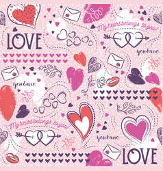 Pink seamless patterned background with hearts vector