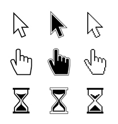 Pixel cursor pointer hand arrow hourglass vector image