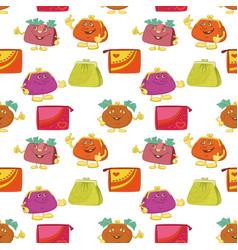 Seamless pattern cartoon purses vector