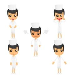 set of funny cartoon nurse vector image vector image