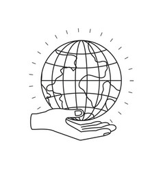 Silhouette hand palm giving a earth globe world vector