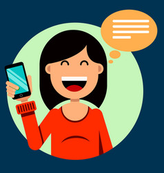 Smiling brunette girl holding a smartphone in her vector