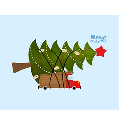 Truck carries christmas tree car and decorated vector