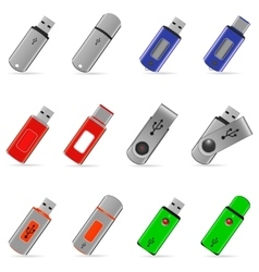 Usb flash memory icons vector image