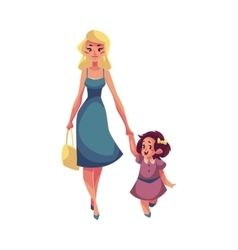 Mother and daughter walking together vector