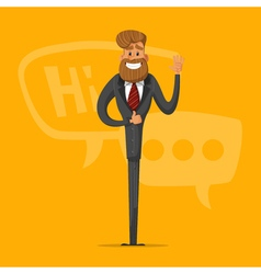 Happy man businessman greets and says that vector image