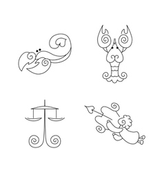 One line zodiac symbols set - libra scorpio cancer vector