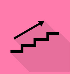 Stair with arrow black icon with flat style vector