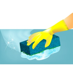 Hand in rubber glove vector