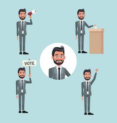 Background scene set people bearded man in formal vector