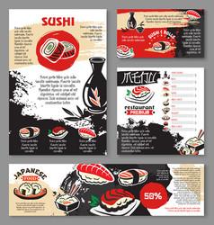 Japanese seafood restaurant sushi menu template vector
