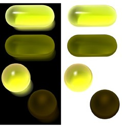 Yellow glass buttons vector