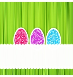 Easter green background with ornament eggs vector image