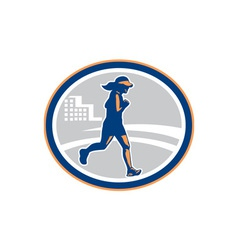 Female marathon runner city retro vector