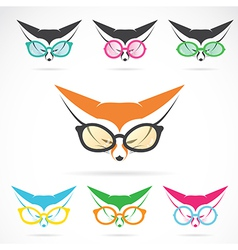 images of fox wearing glasses vector image