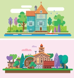 Day and evening summer garden landscape vector
