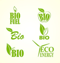 Set of bio and eco labels vector