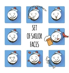 Set of sailor faces smiles fun vector