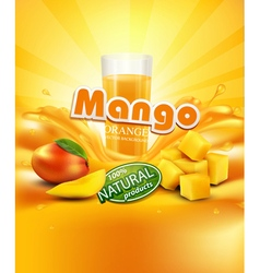 Mango a glass of juice slices of mango vector