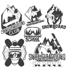 Set of snowboard sport labels in vintage vector
