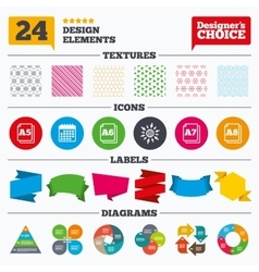 Paper size standard icons document symbol vector