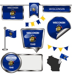 Glossy icons with wisconsinite flag vector