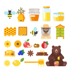 beekeeping and honey icons vector image